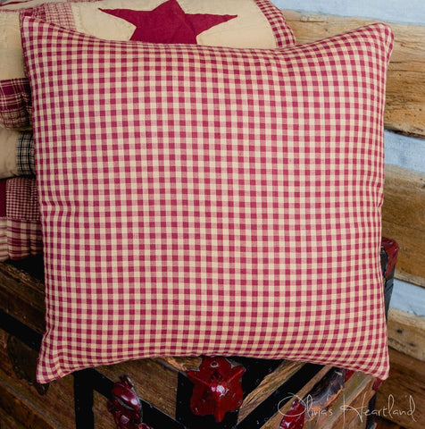 Jamestown Burgundy and Tan Fabric Checkered Pillow Cover