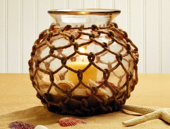 Jute Net-Wrapped Glass Bowl - for Florals, Candle, Shelf Decor, Kitchen Flowers