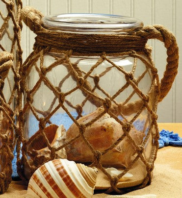 Medium Jute Net-Wrapped Glass Jar With Handle - for Florals, Candle, Shelf Decor, Kitchen Flowers