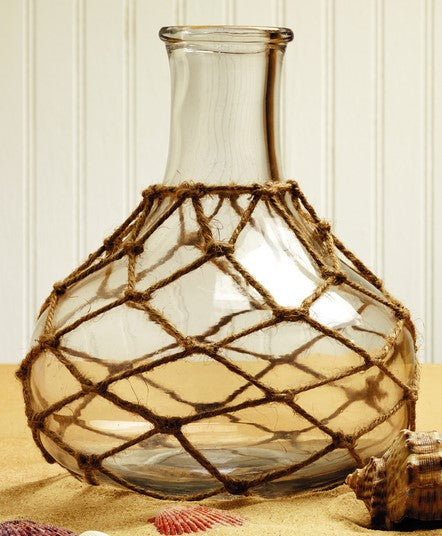Jute Net-Wrapped Glass Vase - for Florals, Candle, Shelf Decor, Kitchen Flowers