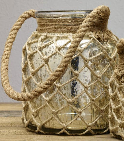 Medium Mercury Glass Jar With Rope Handle - for Florals, Candle, Shelf Decor, Kitchen Flowers