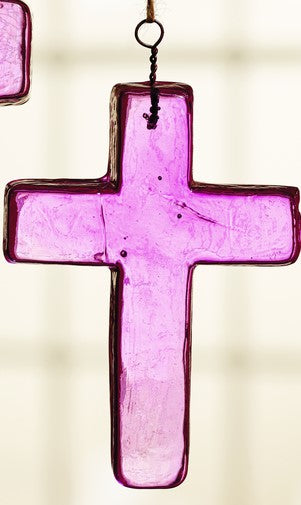 Medium Pink Glass Cross