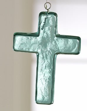 Aqua Glass Cross, 4.5 inches Tall