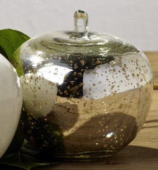 Silver Mercury Glass Apple - Home Accent Decor