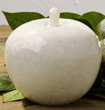 White Mercury Glass Apple - Country Home Decor Accent