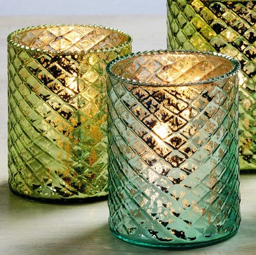Small Mercury Glass Candle Holders - Set of 2