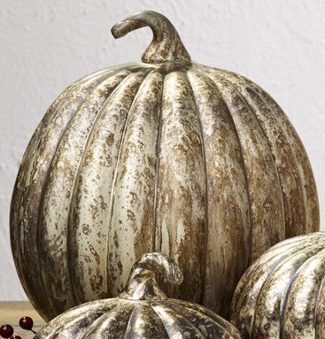 Large Mercury Glass Pumpkin Country Farmhouse Home Decor Accent for Table or Shelf
