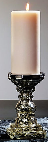 Small Silver Mercury Glass Candlestick Candle Holder