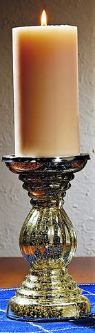 Large Silver Mercury Glass Candlestick
