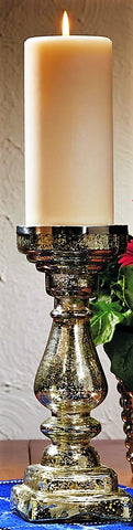 Large Mercury Glass Candlestick Candle Holder Silver