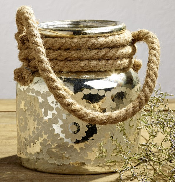 Etched Mercury Glass Jar With Jute Rope Handle for Florals, Candle, Shelf Decor, Kitchen Flowers