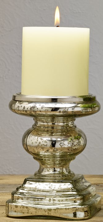 Silver Mercury Glass Pillar and Votive Candle Holder