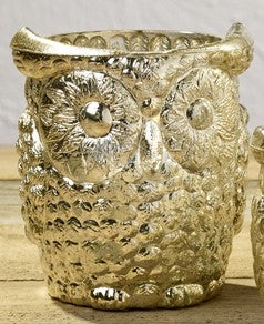 Silver Owl Mercury Glass Votive Candle and Tealight Holder