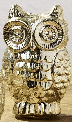 Silver Mercury Glass Owl - Home Accent Decor
