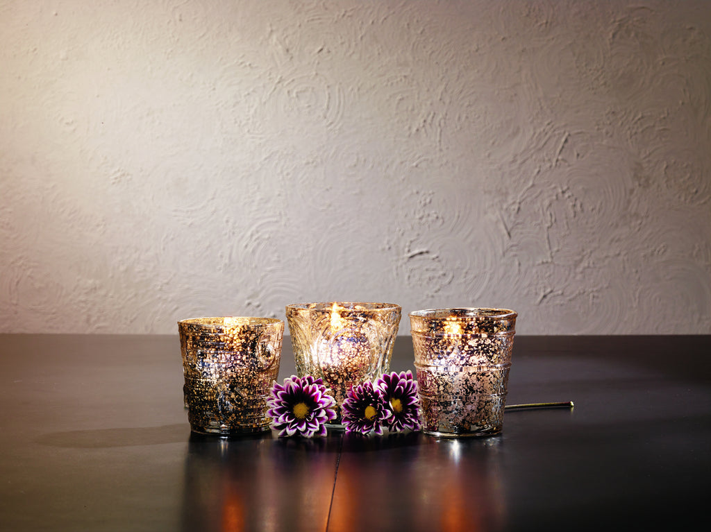 Embossed Mercury Glass Votive Holders - Set Of 3 - Vintage candle holder tealight