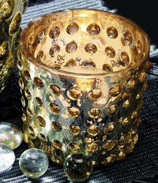 Gold Hobnail Mercury Glass Tealight Candle Holder