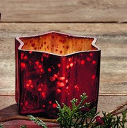 Small Red Mercury Glass Star Candle Holder