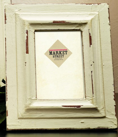 Small Vintage Rustic Distressed Cream White Wood Picture Frame for 4x6 photo