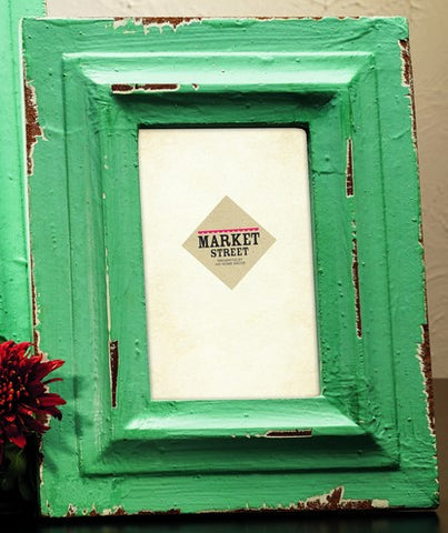 Small Vintage Rustic Distressed Muted Green Wood Picture Frame for 4x6 photo