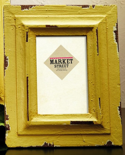 Small Distressed Vintage Yellow Wood Picture Frame for 4x6 Photo