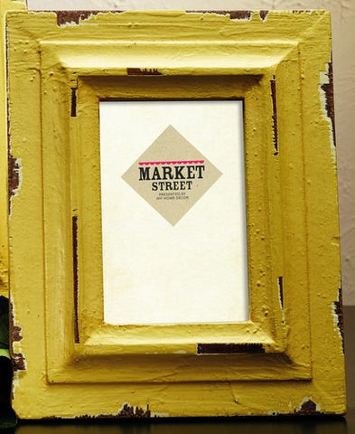 Large Vintage Rustic Distressed Yellow Wood Picture Frame for 5x7 photo