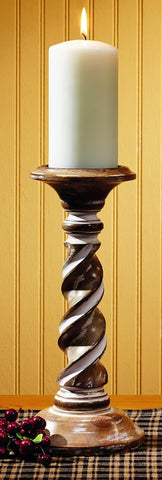 Small Wooden Tall Candlestick Candle Holder