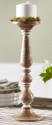 Medium Wooden Tall Candlestick Candle Holder