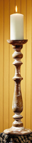 Large Wooden Tall Candlestick Candle Holder