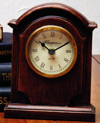Antique Primitive Vintage Iron Brown Wood Old Table Clock - for Coffee Table, Night Table, Desk