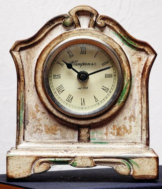 Antique Primitive Vintage Cream Wood Old Table Clock - for Coffee Table, Night Table, Desk