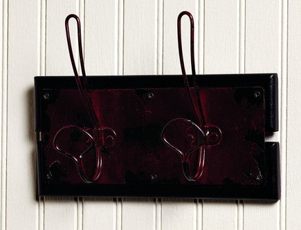 Distressed Red Double Wall Hook Board