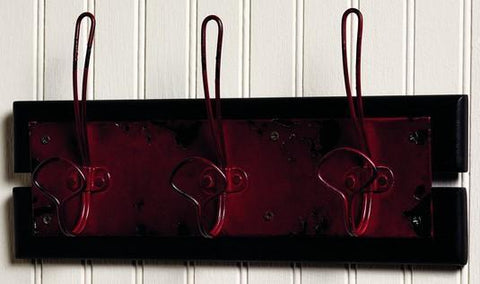 Distressed Red Triple Wall Hook Board