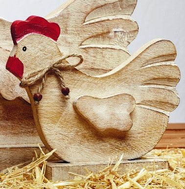 Small Wood Chicken Tabletop Decor