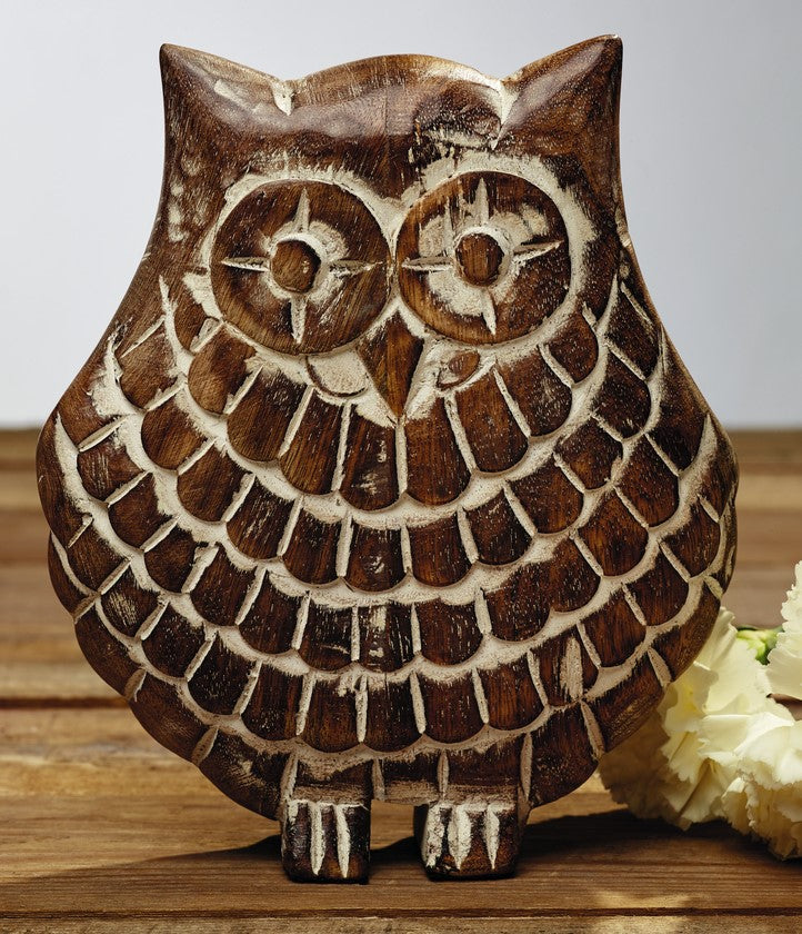 Etched Wood Owl Tabletop Decor