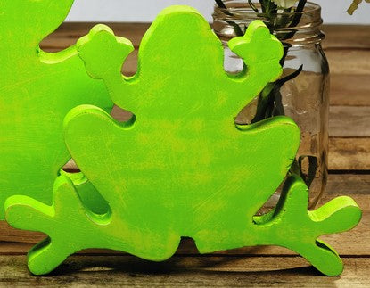 Small Lime Green Wood Frog - Home Accent Shelf or Tabletop Decor