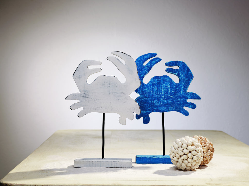 White & Blue Wood Crab Tabletop Decor - Set of 2 - Beach Seashell Ocean Tabletop or Shelf Decor