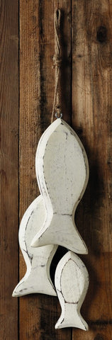 White Wood Fish Garland - Wall Decor