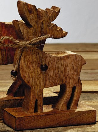Small Wood Reindeer Tabletop Decor