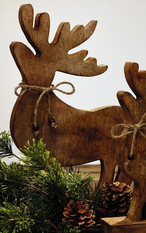 Large Wood Reindeer Tabletop Decor - Country Christmas Farmhouse Home Decor Accent for Tabletop or Shelf