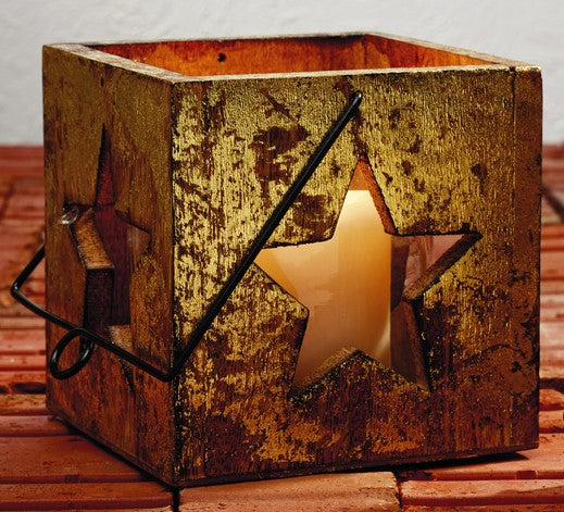 Large Gold Star Wood Votive Candle and Tealight Box