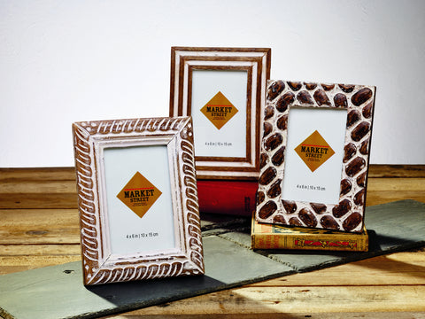 Set of 3 Mango Burnt Wood Finish Frames 4in. x 6in.