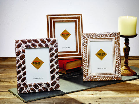 Set of 3 Mango Burnt Wood Finish Frames 5in. x 7in.