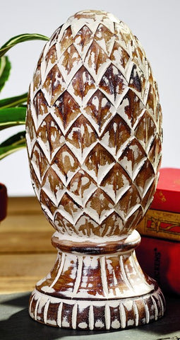 Burnt Wood Finish Mango Wood Pineapple Finial