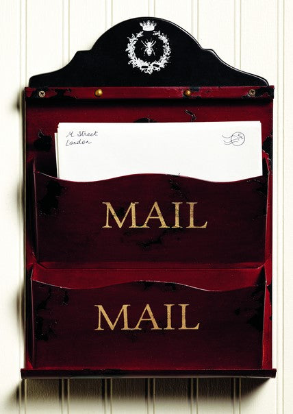 """Mail"" Metal Double Letter Holder Wall Rack"