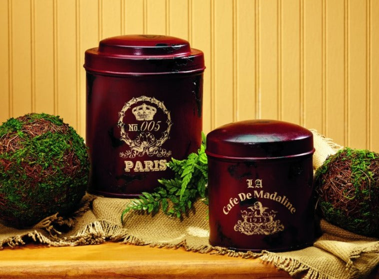 Merlot French Metal Canisters - Set Of 2 - for Gift Basket, Food, Fruit, Flowers, Storage, Shelf Decor