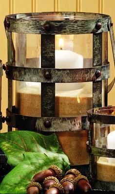 Large Distressed Tin & Glass Lantern Candle Holder