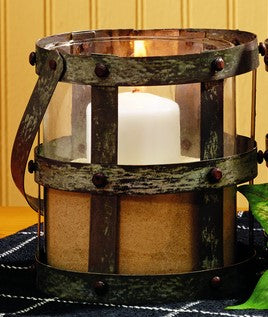 Medium Distressed Tin & Glass Lantern Candle Holder