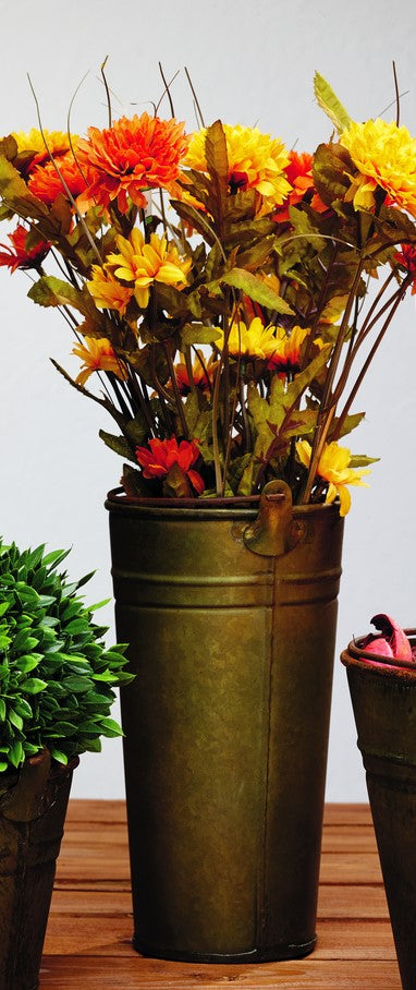 Large Aged Metal Pail -  Gift Basket, Food, Fruit, Flowers, Storage, Shelf Decor