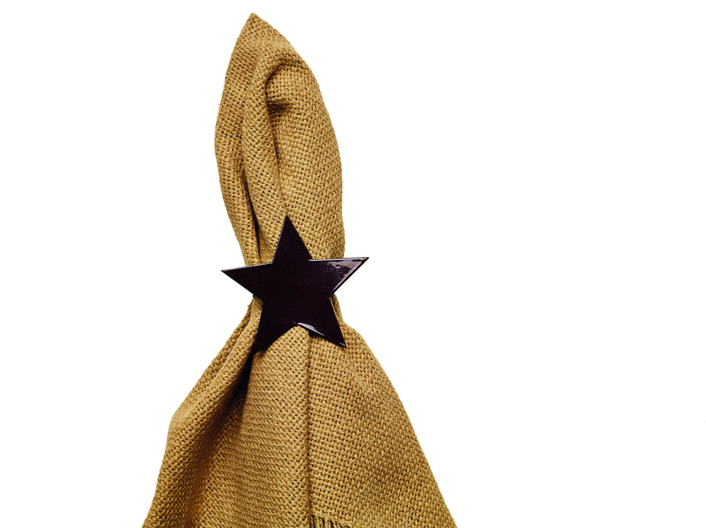 Black Star Napkin Ring - Set of 6