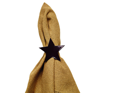 Black Star Napkin Ring for Place Settings Wedding Receptions Dinner Parties Fall Paper Primitive Country
